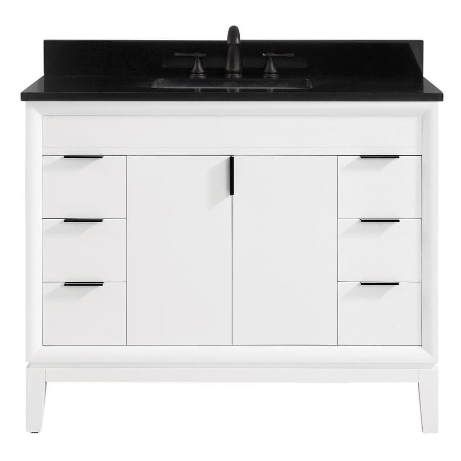 Avanity Emma 43 In White Single Sink Bathroom Vanity With Black Granite Top In The Bathroom Vanities With Tops Department At Lowes Com