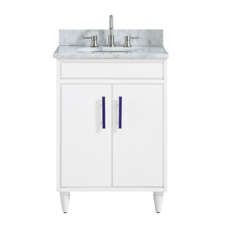 Avanity Layla 25 In White Undermount Single Sink Bathroom Vanity With Carrera White Natural Marble Top In The Bathroom Vanities With Tops Department At Lowes Com