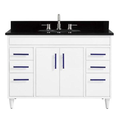 Avanity Layla 49 In White Single Sink Bathroom Vanity With Black
