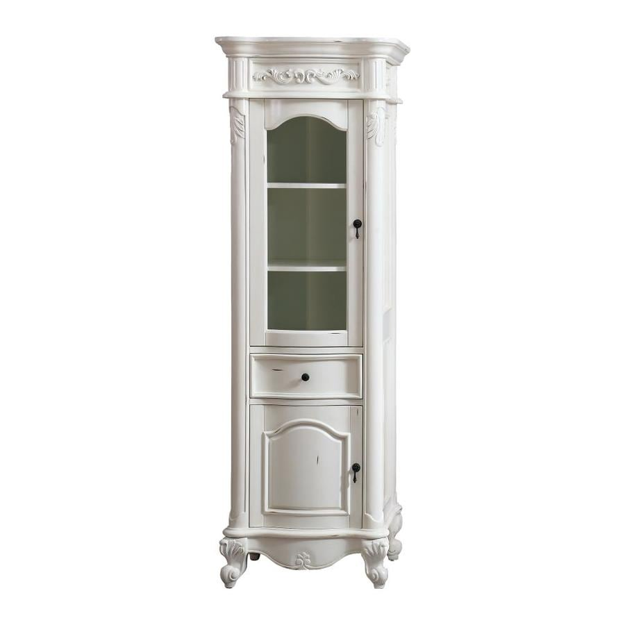 Avanity Provence 24 In W X 72 In H X 19 2 In D Antique White Finish Plywood Freestanding Linen