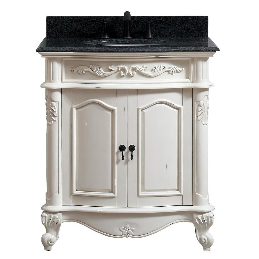 Superbe Avanity Provence Antique White Single Sink Vanity With Black Granite Top  (Common: 31