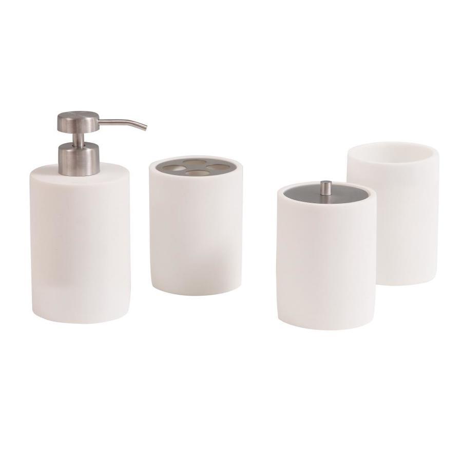 Avanity Pippa Matte White Plastic Bath Accessory Set At