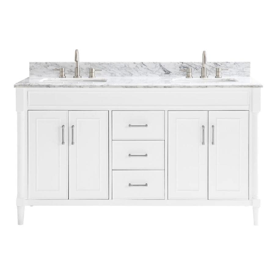Allen + Roth Perrella White Double Sink Vanity With Carrera White Natural Marble Top (Common: 61 In X 22 In) by Lowe's