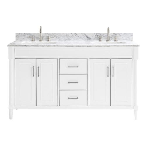 Allen Roth Perrella 61 In White Double Sink Bathroom Vanity With Carrera Natural Marble Top At Lowes