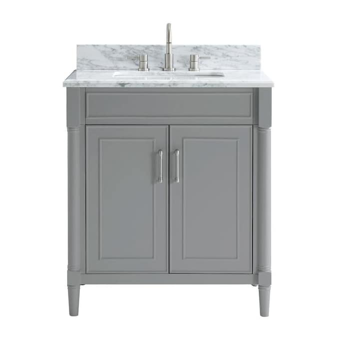 Allen Roth Perrella 31 In Light Gray Undermount Single Sink Bathroom Vanity With Carrera White Natural Marble Top In The Bathroom Vanities With Tops Department At Lowes Com