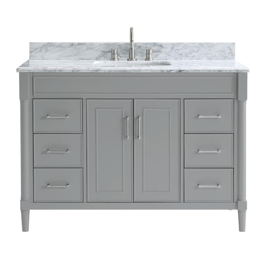 Allen Roth Perrella 49 In Light Gray Undermount Single Sink Bathroom Vanity With Carrera White Natural Marble Top In The Bathroom Vanities With Tops Department At Lowes Com