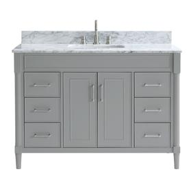 allen + roth Perrella Light Gray Single Sink Vanity with Carrera White Natural Marble Top (