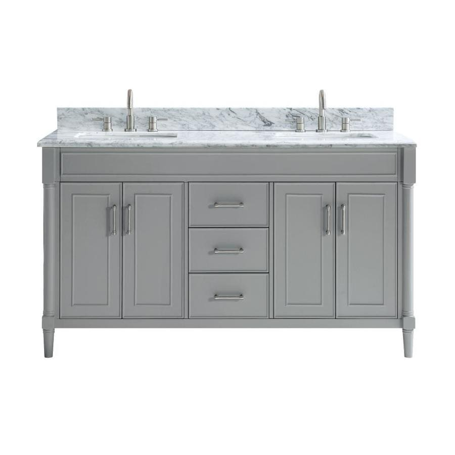 Allen Roth Perrella 61 In Light Gray Double Sink Bathroom Vanity With Carrera White Natural Marble Top