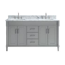 Allen + Roth Perrella Light Gray Double Sink Vanity With Carrera White  Natural Marble Top (