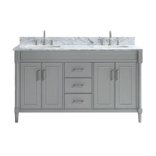 Light Gray Double Sink Bathroom Vanity