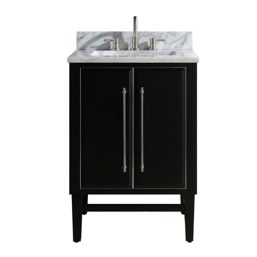 Avanity Mason 24 In Black Undermount Single Sink Bathroom Vanity With Carrara White Marble Top In The Bathroom Vanities With Tops Department At Lowes Com