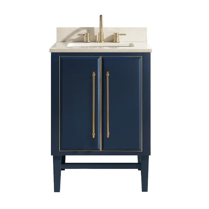 Avanity Mason 24 In Navy Blue Undermount Single Sink Bathroom Vanity With Crema Marfil Marble Top In The Bathroom Vanities With Tops Department At Lowes Com