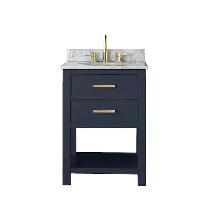 Avanity Brooks 25 In Navy Blue Undermount Single Sink Bathroom Vanity With Carrara White Natural Marble Top In The Bathroom Vanities With Tops Department At Lowes Com