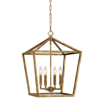 Vintage Gold Single Transitional Cage Pendant Light