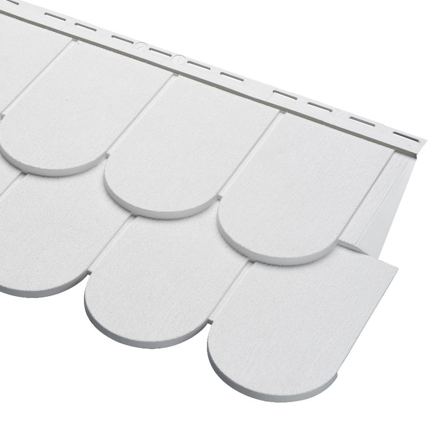 Georgia-Pacific Cedar Spectrum Scallop White Vinyl Siding Panel 16.375-in x 54.75-in