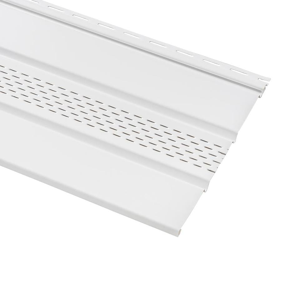 Georgia-Pacific 12-in x 144-in White/Pebble Vinyl Center Vented Soffit