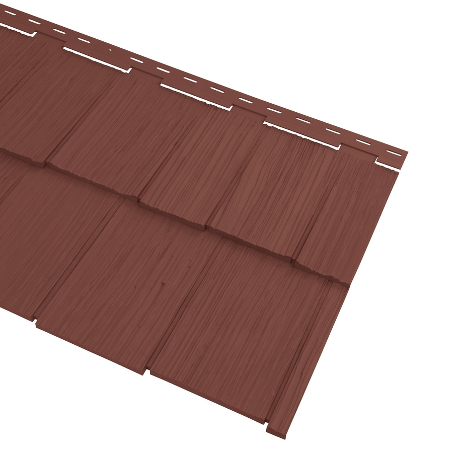 Georgia-Pacific Cedar Spectrum Vinyl Siding Panel Hand-Split Shake Hampton Red 20.375-in x 57.5-in