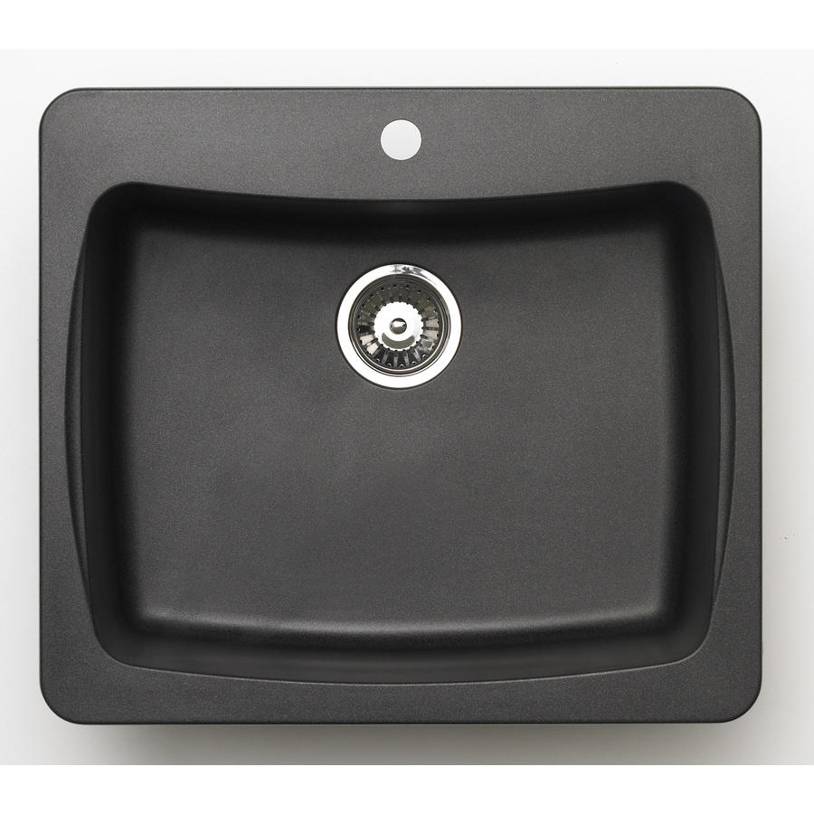 Jacuzzi 22-in x 25-in Metallic Black Single-Basin Granite Drop-in or Undermount Kitchen Sink