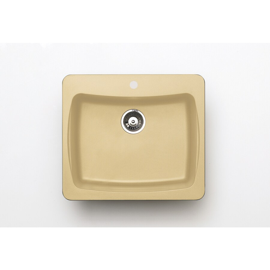 Jacuzzi 22-in x 25-in Sahara Beige Single-Basin Granite Drop-in or Undermount Kitchen Sink