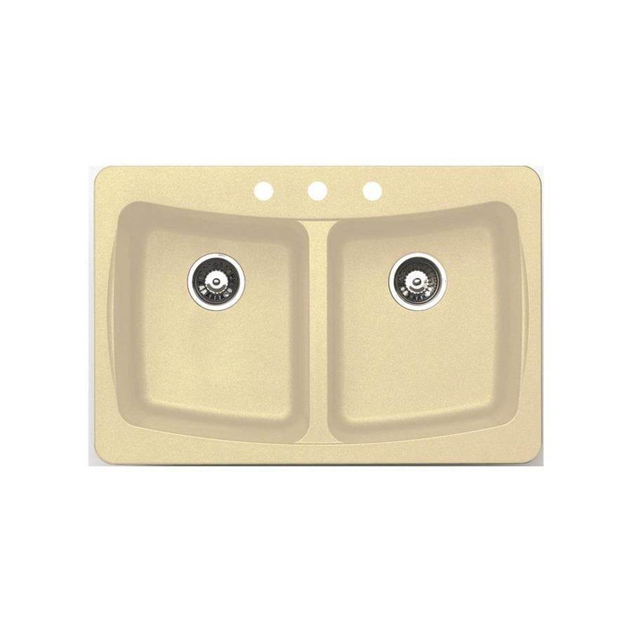 Jacuzzi 22-in x 33-in Sahara Beige Double-Basin Granite Drop-in or Undermount Kitchen Sink