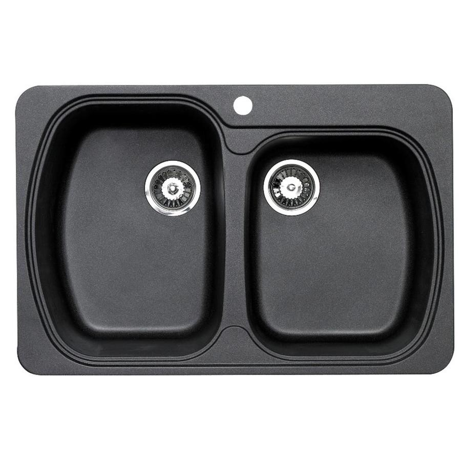 Jacuzzi 22-in x 33-in Metallic Black Double-Basin Granite Drop-in or Undermount Residential Kitchen Sink