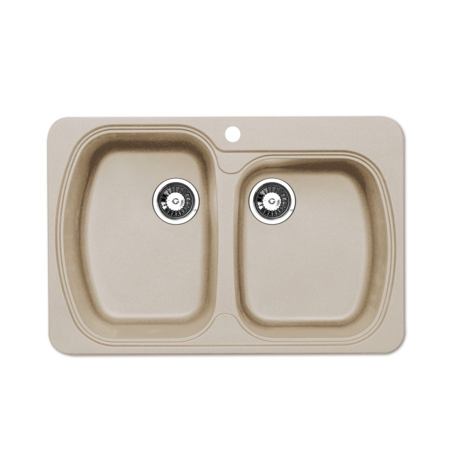 Jacuzzi 22.0-in x 33.0-in Sahara Beige Double-Basin Granite Drop-in or Undermount 5-Hole Residential Kitchen Sink