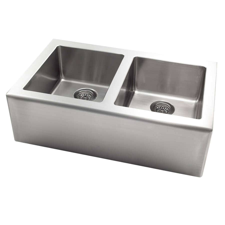 Stainless Steel Double Farmhouse Sink : ... 33-in Stainless Steel Double-Basin Apron Front/Farmhouse Kitchen Sink