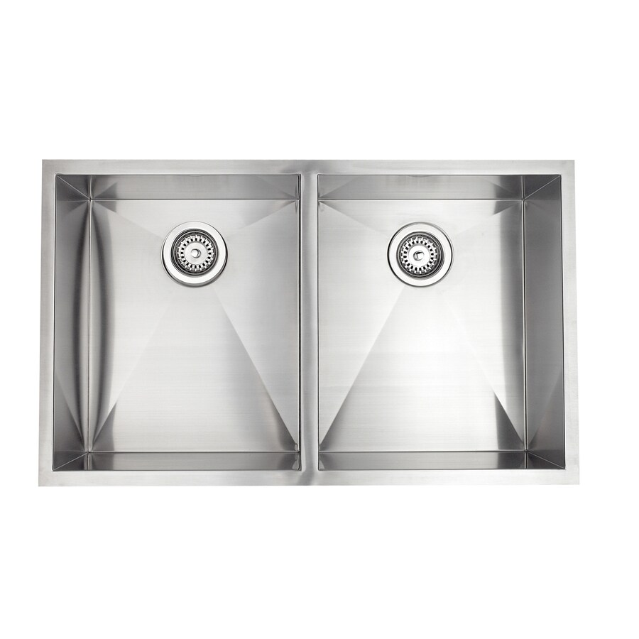 Jacuzzi 20-in x 33-in Stainless Steel Double-Basin Undermount Residential Kitchen Sink