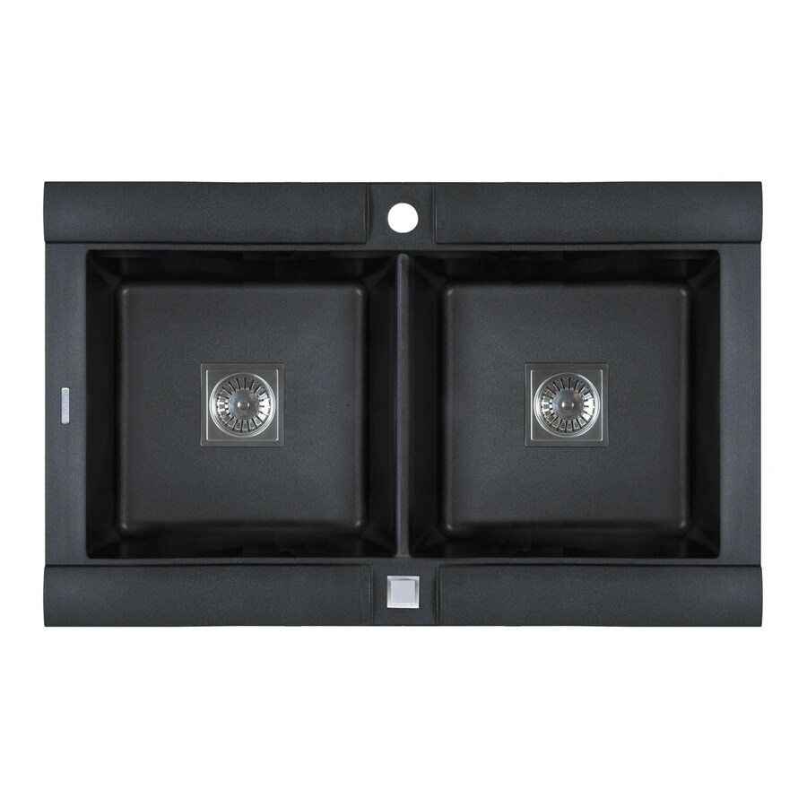 Jacuzzi 20.25-in x 32.75-in Metallic Black Double-Basin Granite Drop-in or Undermount Kitchen Sink