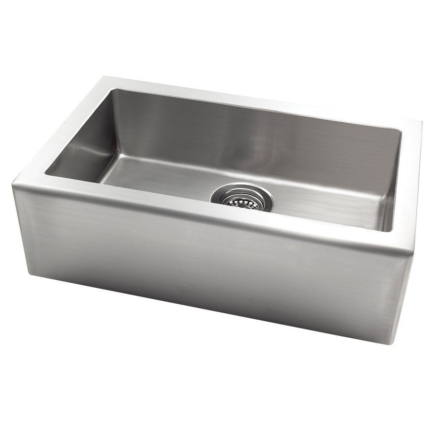 Jacuzzi 20-in x 33-in Stainless Steel Single-Basin Apron Front/Farmhouse Residential Kitchen Sink
