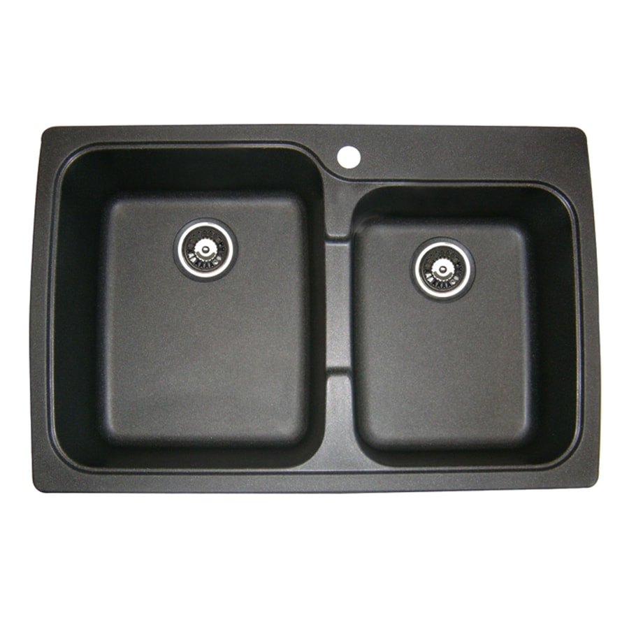 jacuzzi 33 in x 22 in metallic black double basin drop in or rh lowes com jacuzzi astracast kitchen sinks jacuzzi astracast kitchen sinks