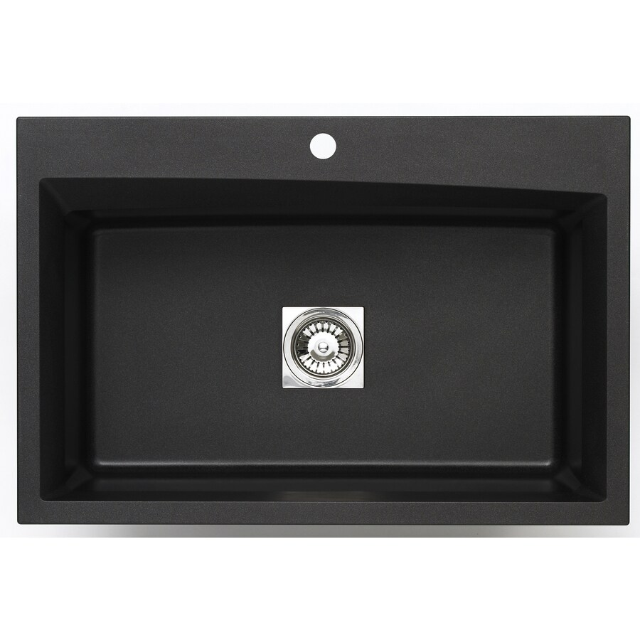 Jacuzzi 22.0-in x 33.0-in Metallic Black Single-Basin Granite Drop-in or Undermount 3-Hole Residential Kitchen Sink