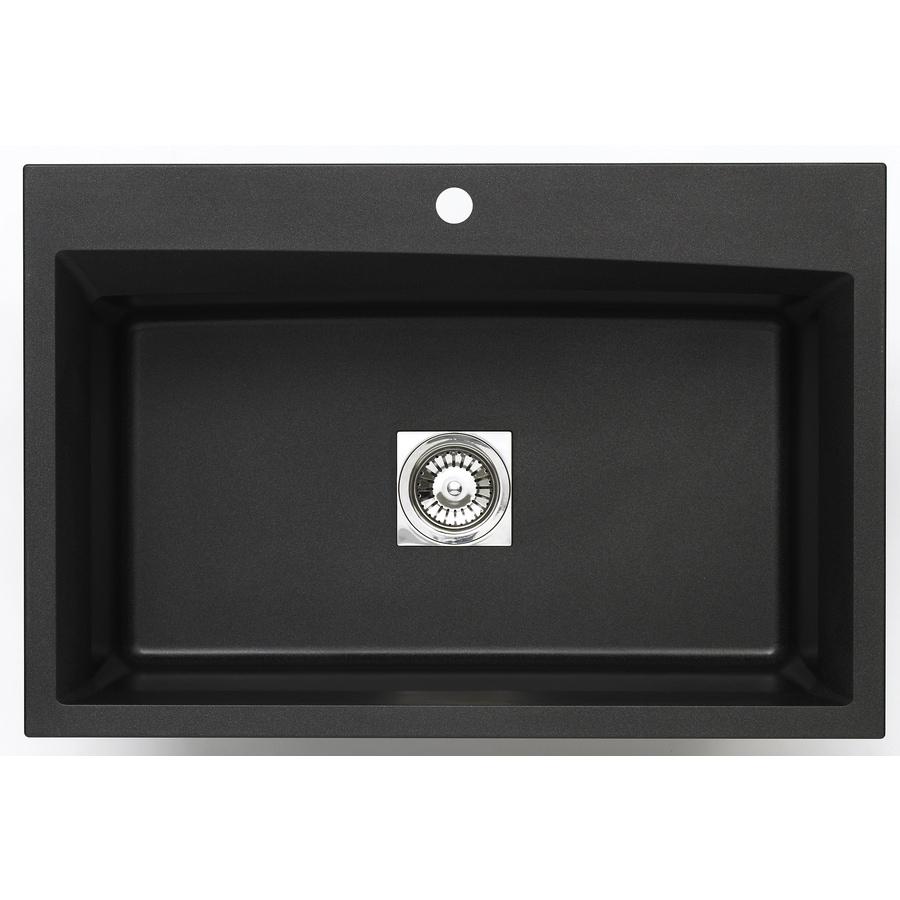 Jacuzzi 22-in x 33-in Metallic Black Single-Basin Granite Drop-In 3-Hole Residential Kitchen Sink