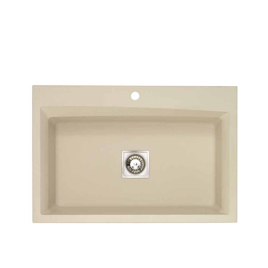Jacuzzi 22-in x 33-in Sahara Beige Single-Basin-Basin Granite Drop-in or Undermount-Hole Kitchen Sink