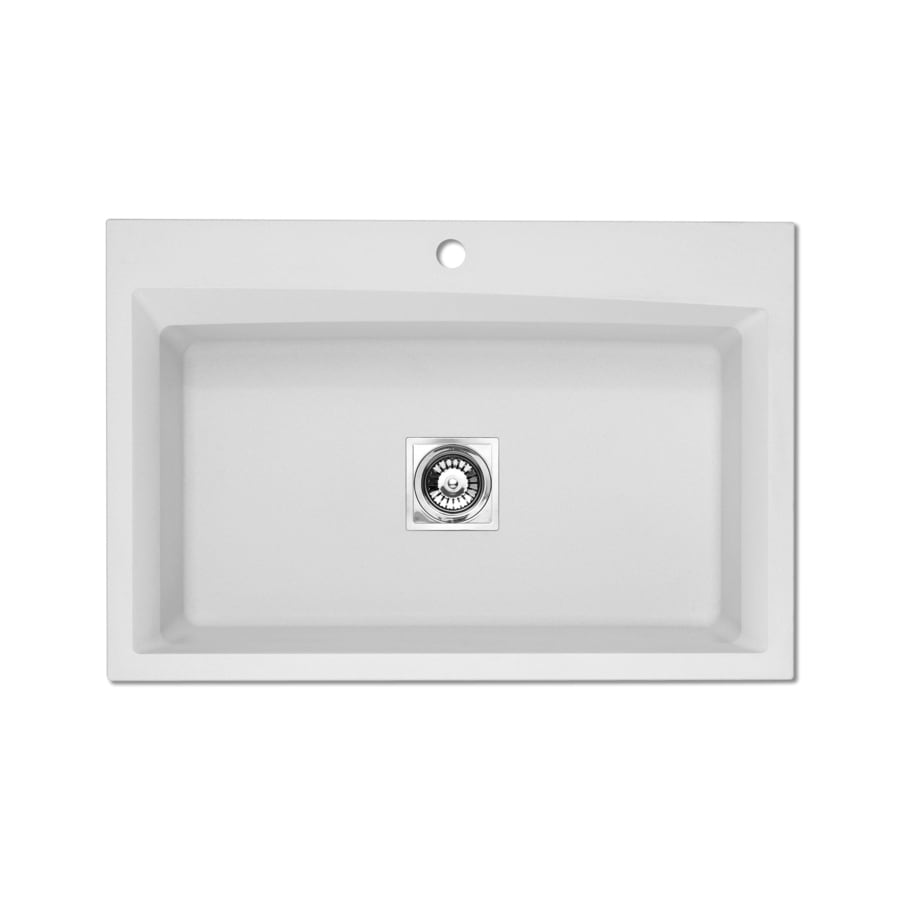Jacuzzi 22.0-in x 33.0-in White Single-Basin Granite Drop-in or Undermount 3-Hole Residential Kitchen Sink