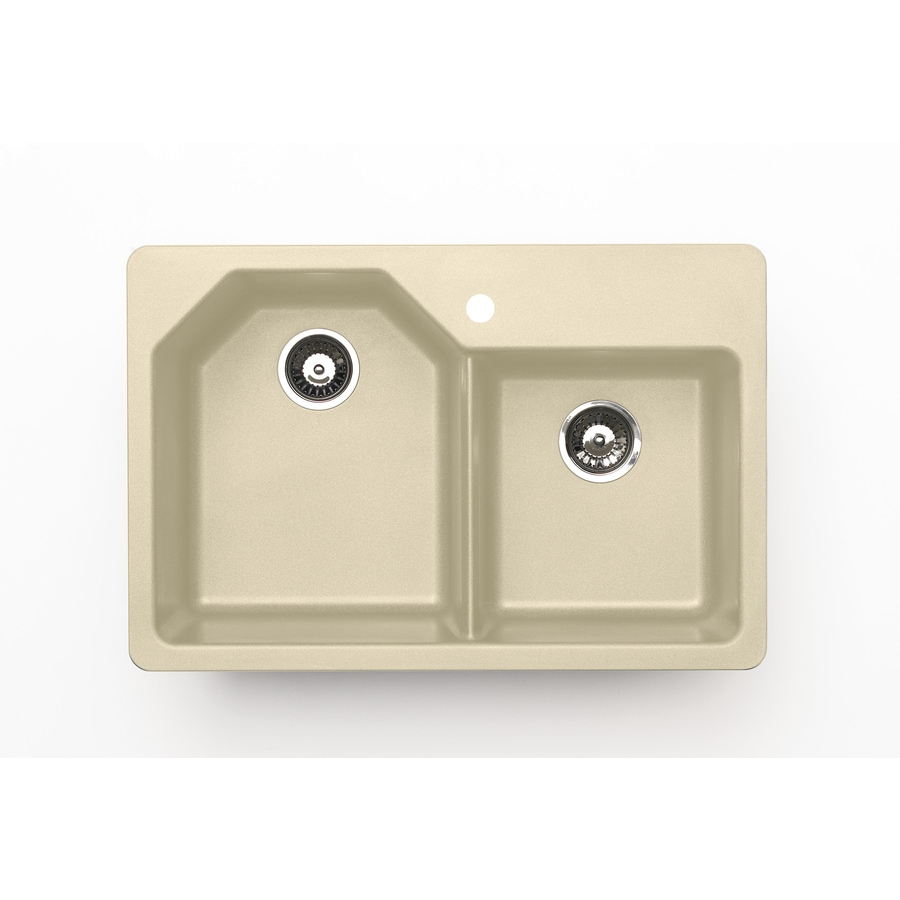 Jacuzzi 22-in x 33-in Sahara Beige Double-Basin Granite Drop-In 5-Hole Residential Kitchen Sink