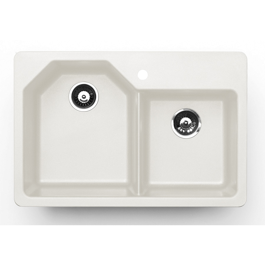 Jacuzzi 22.0-in x 33.0-in White Double-Basin Granite Drop-in or Undermount 5-Hole Residential Kitchen Sink