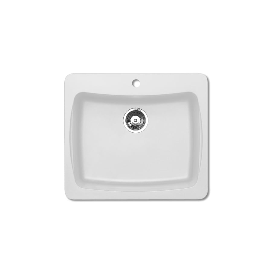 Jacuzzi 22-in x 25-in White Single-Basin Granite Drop-in or Undermount Kitchen Sink