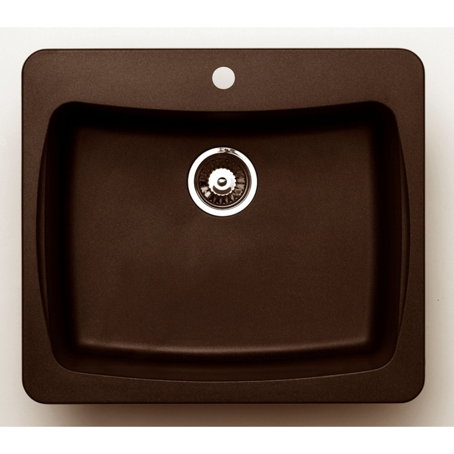 Jacuzzi 22-in x 25-in Chocolate Metallic Single-Basin Granite Drop-in or Undermount Kitchen Sink