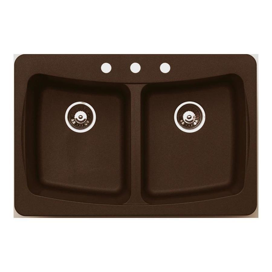 Jacuzzi 22-in x 33-in Chocolate Metallic Double-Basin Granite Drop-in or Undermount Kitchen Sink