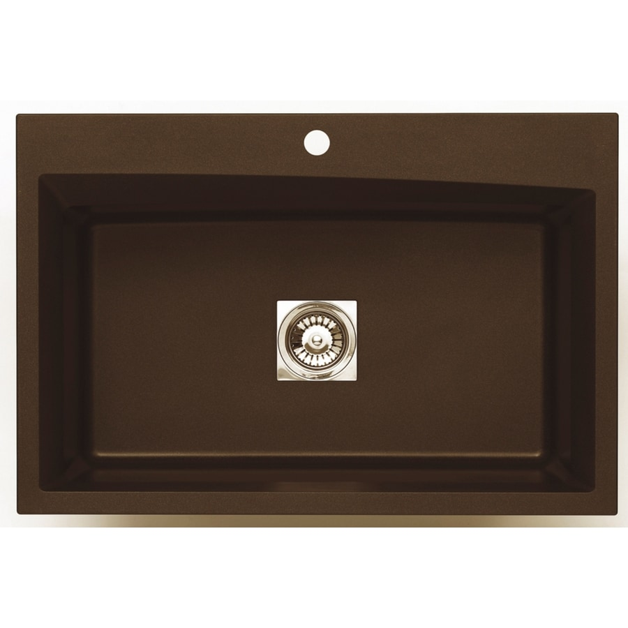 Jacuzzi 22.0-in x 33.0-in Chocolate Metallic Single-Basin Granite Drop-in or Undermount 3-Hole Residential Kitchen Sink