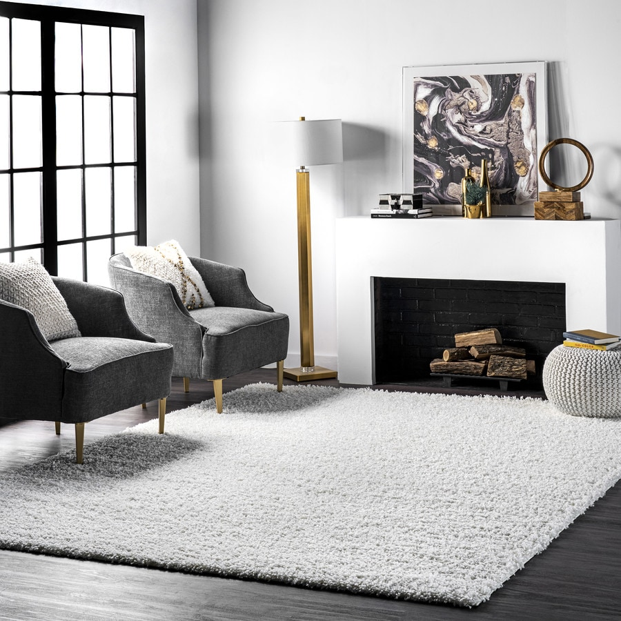 White Square Indoor Solid Area Rug