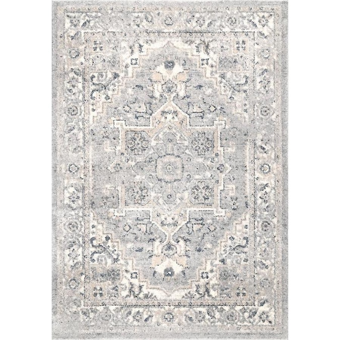Nuloom 5 X 8 Light Gray Indoor Medallion Vintage Area Rug In The Rugs Department At Lowes Com