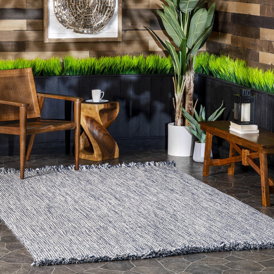 Nuloom 9 X 12 Blue Indoor Outdoor Solid Area Rug In The Rugs Department At Lowes Com