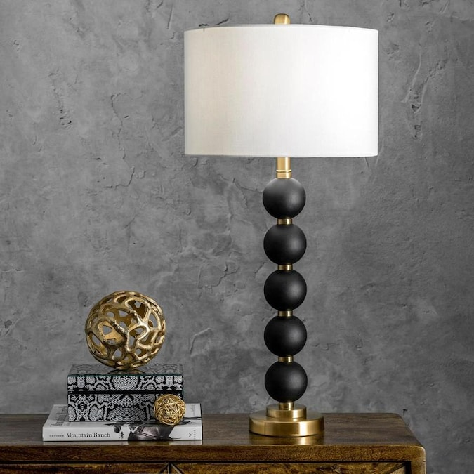 Nuloom 30 75 In Black Led Table Lamp With Fabric Shade In The Table Lamps Department At Lowes Com