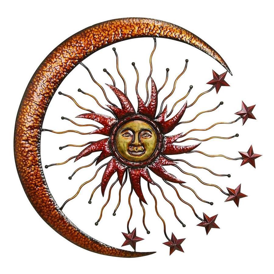Benzara 36 In W X H Frameless Metal Sun And Moon Sculpture Wall Art
