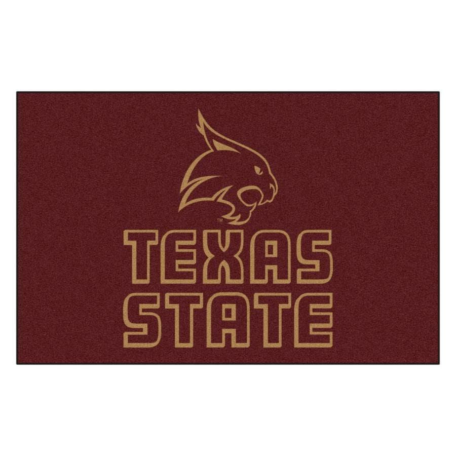 FANMATS Texas State Univ San Marcos Rectangular Indoor Machine-Made Sports Throw Rug (Common: 1-1/2 x 2-1/2; Actual: 1.583-ft W x 2.5-ft L x dia)