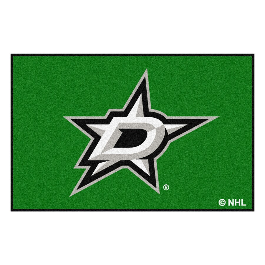 FANMATS Dallas Stars Rectangular Indoor Machine-Made Sports Throw Rug (Common: 1-1/2 x 2-1/2; Actual: 1.583-ft W x 2.5-ft L x dia)