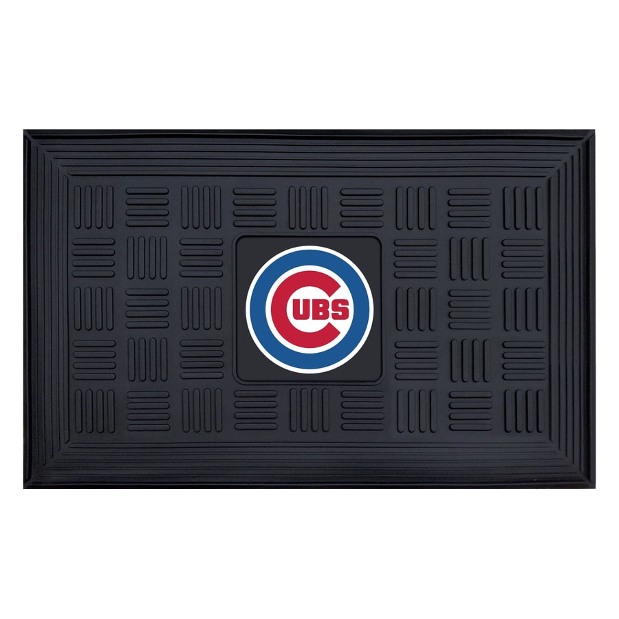 FANMATS Black with Official Team Logos and Colors Chicago Cubs Rectangular Door Mat (Common: 19-in x 30-in; Actual: 19-in x 30-in)