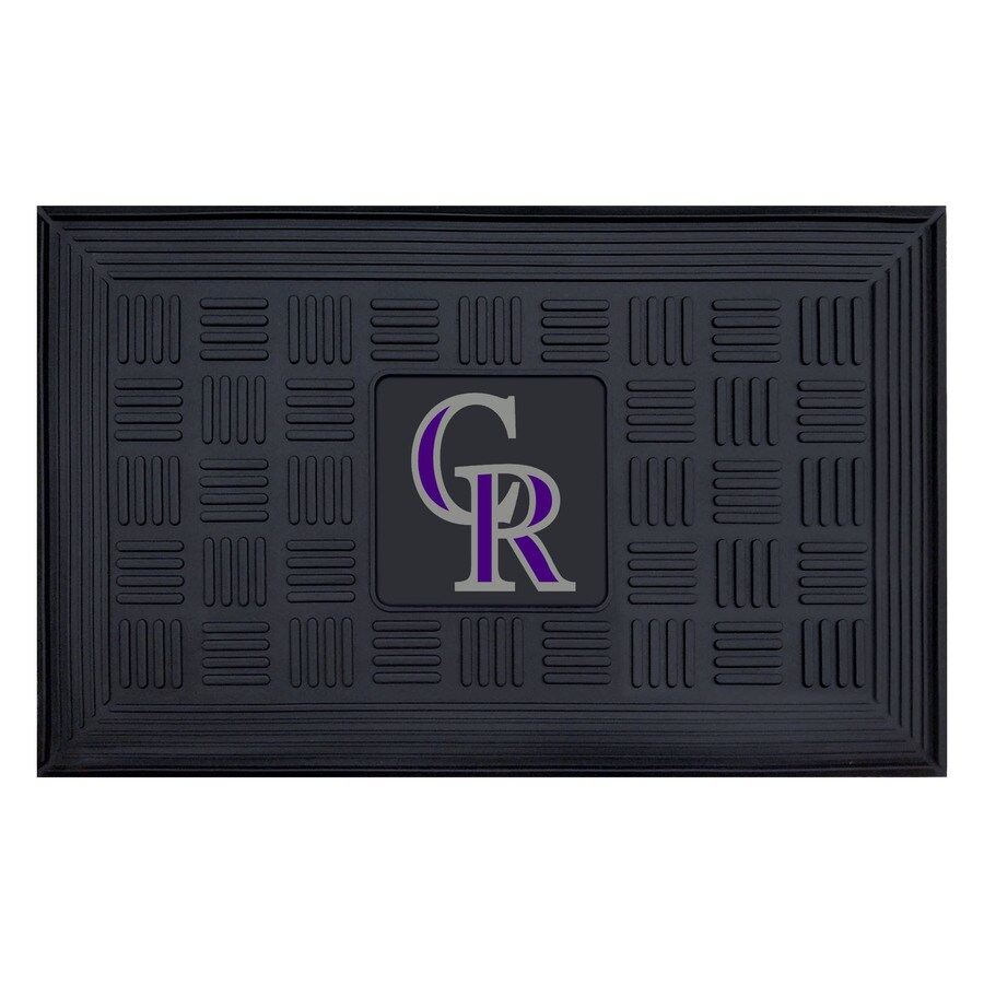 FANMATS Black with Official Team Logos and Colors Colorado Rockies Rectangular Door Mat (Common: 19-in x 30-in; Actual: 19-in x 30-in)